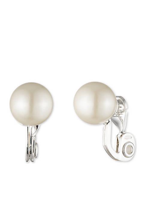 Lauren Pearl Button Clip Earrings