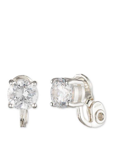 Lauren Silver-Tone Cubic Zirconia Button Earrings