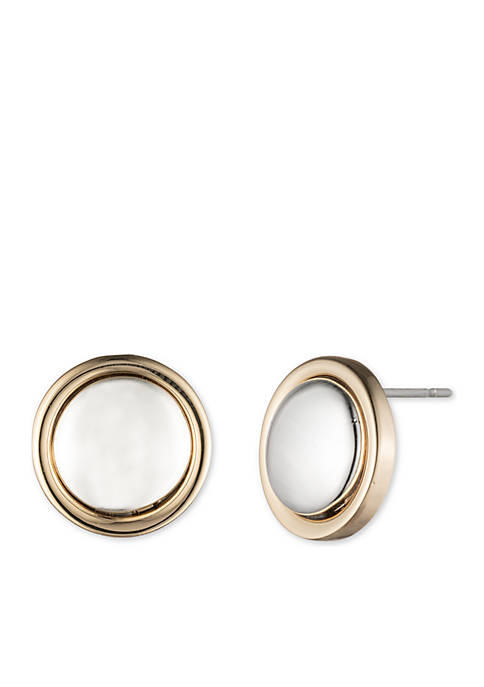 Lauren Two-Tone 12MM Button Stud Earrings