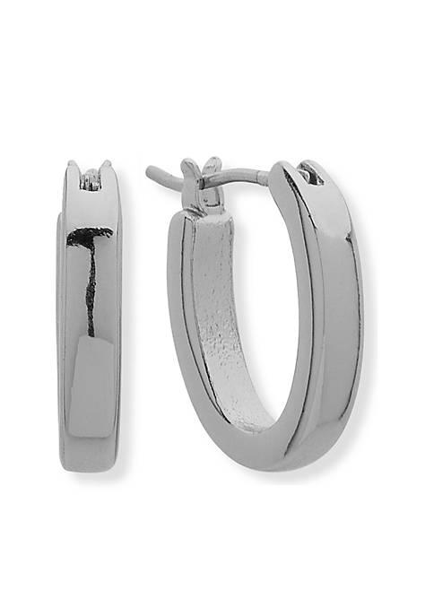 Silver-Tone Small Oval Hoop Earrings