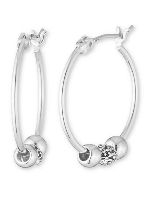 Silver-Tone Small Slider Hoop Earrings