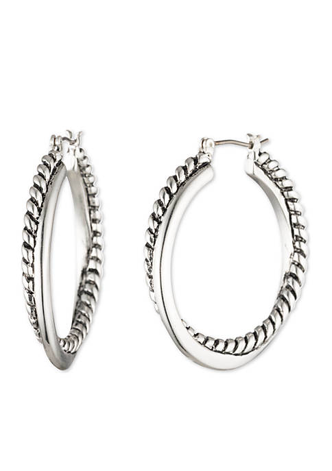 Lauren Silver-Tone Twisted Hoop Earrings