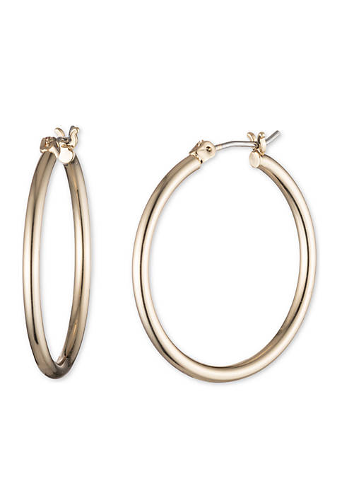 Lauren Gold-Tone Medium Thin Hoop Earrings