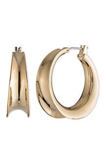 Gold Concave Hoop Earrings