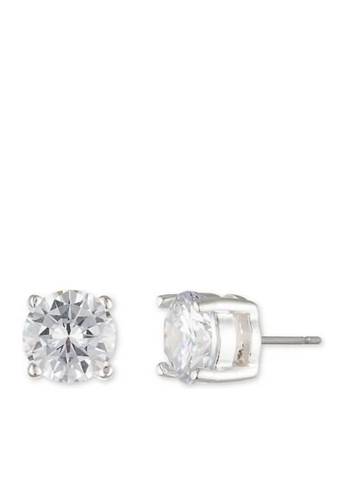 Silver-Tone Pierced Earring Cubic Zirconia Stud