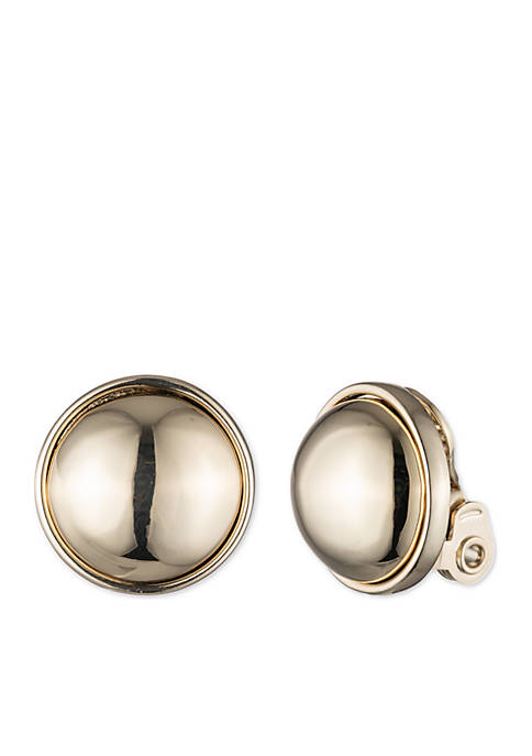 Lauren Gold-Tone Button Clip Earrings