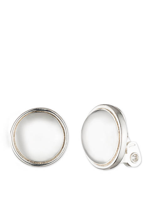 Silver-Tone Clip Button Earrings