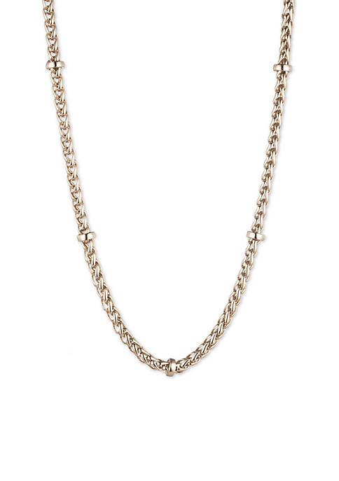 Gold-Tone Braid Chain Collar Necklace