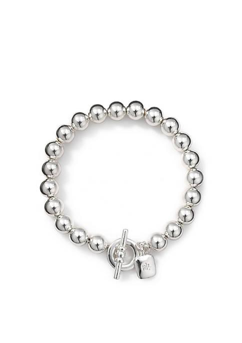 Silver Tone Metal Bead Flex Bracelet