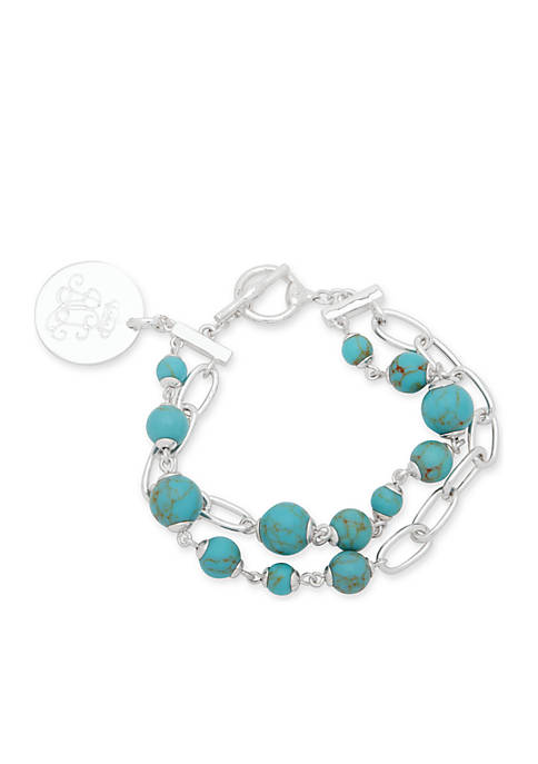 Lauren Silver-Tone Bolton Two Row Toggle Bracelet