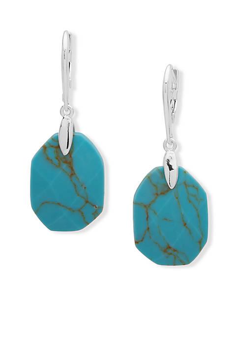 Lauren Silver-Tone Stone Drop Earrings