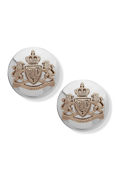 Lauren Two-Tone Bassett Crest Button Earrings