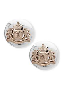 Two-Tone Bassett Crest Stud Earrings