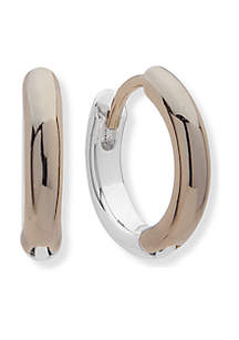 Two-Tone Huggie Hoop Earrings