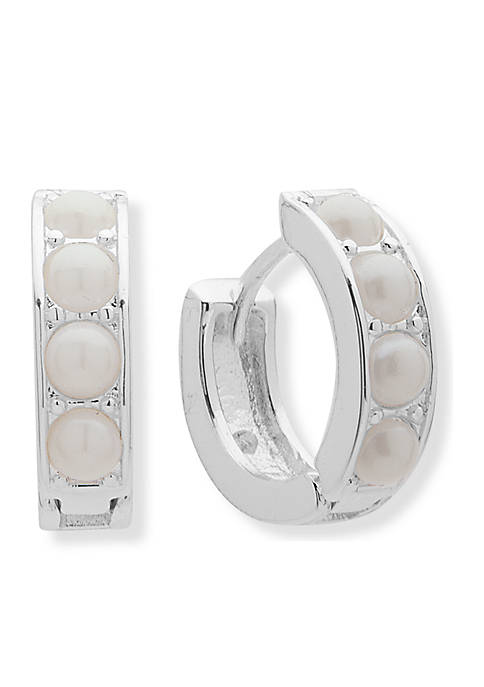 Silver-Tone Huggie Pearl Earrings