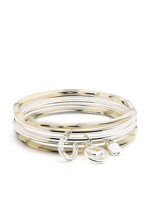 Lauren Silver Horn Charm Bangle Set Bracelet