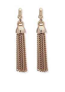 Chain Tassel Gold-Tone Post Earrings
