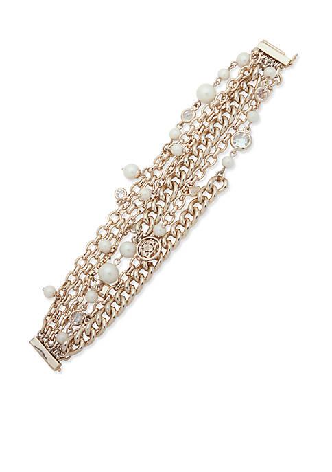 Lauren Ralph Lauren Gold-Tone Chain Pearl Bracelet
