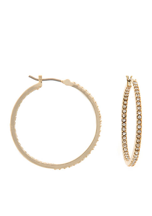 Gold-Tone Beaded Hoop Earrings
