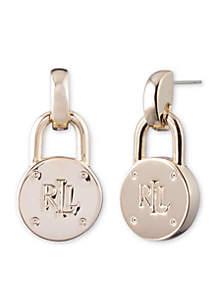Gold Logo Padlock Drop Earrings