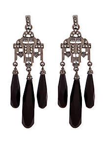 Lauren Hematite-Tone Diamond Chandelier Drop Earrings