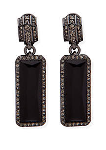 Hematite-Tone Large Stone Clip Earrings