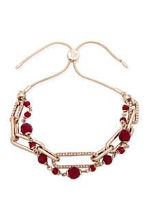Gold-Tone 2-Row Bead Link Bracelet