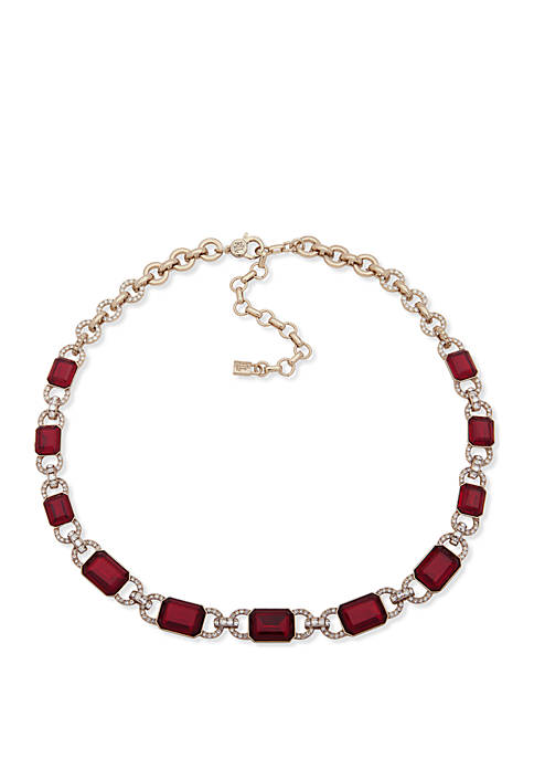 Gold-Tone Crystal Stone Collar Necklace