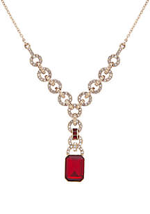 Gold-Tone Crystal and Stone Y-Necklace