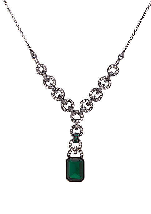 Hematite Tone Stone and Crystal Y-Necklace