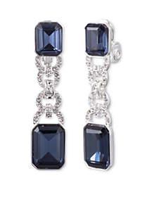 Blue Stone Crystal Clip Earrings