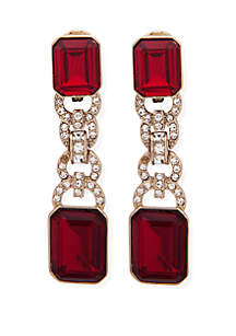 Gold-Tone Large Crystal Stone Drop Clip Earrings