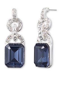 Blue Stone Crystal Drop Earrings