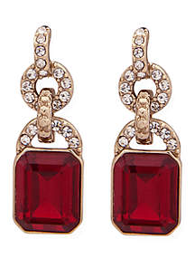 Gold-Tone Crystal and Stone Drop Earrings