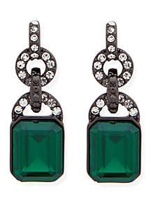 Hematite-Tone Crystal Drop Earrings