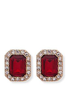 Gold-Tone Crystal Stone Stud Earrings