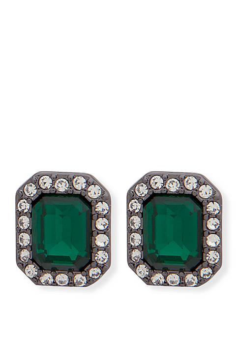 Hematite-Tone Crystal Stud Earrings