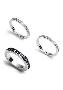Silver Blue Crystal Stackable Rings