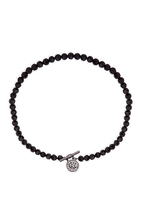 Lauren Hematite-Tone Black Diamond Collar Toggle Necklace