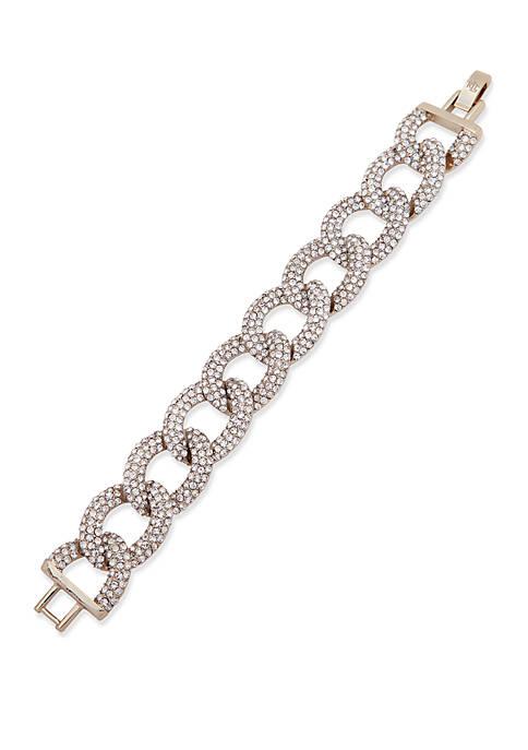 Lauren Gold-Tone Crystal Pave Link Flex Bracelet