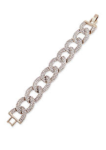 Gold-Tone Crystal Pave Link Flex Bracelet