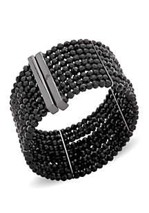 Hematite-Tone Multi-Row Cuff Bracelet