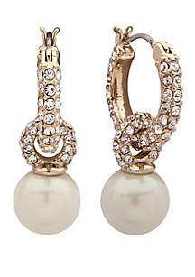 Gold-Tone Crystal Pearl Drop Earrings