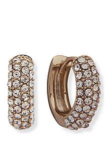 Lauren Gold-Tone Crystal Pave Huggie Hoop Earrings