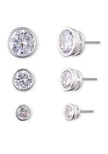 Trio of Silver Crystal Earrings
