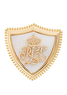 Gold-Tone Crystal Micro-Pave Crown Pin