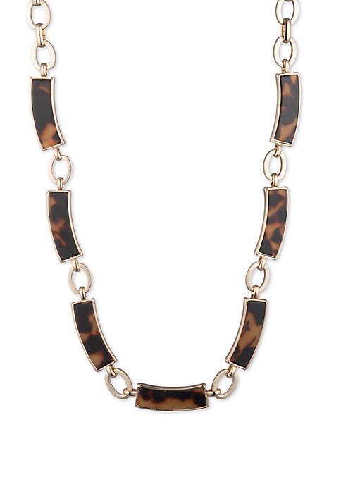 Lauren Gold-Tone and Tortoise Link Collar Necklace