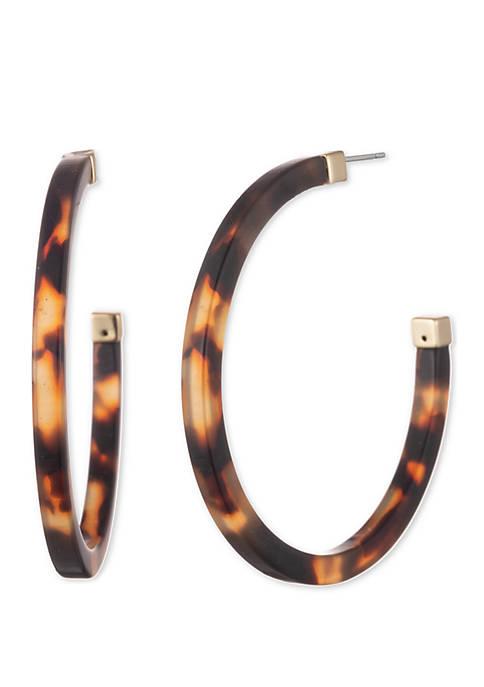 Tortoise and Gold-Tone Post Hoop Earrings