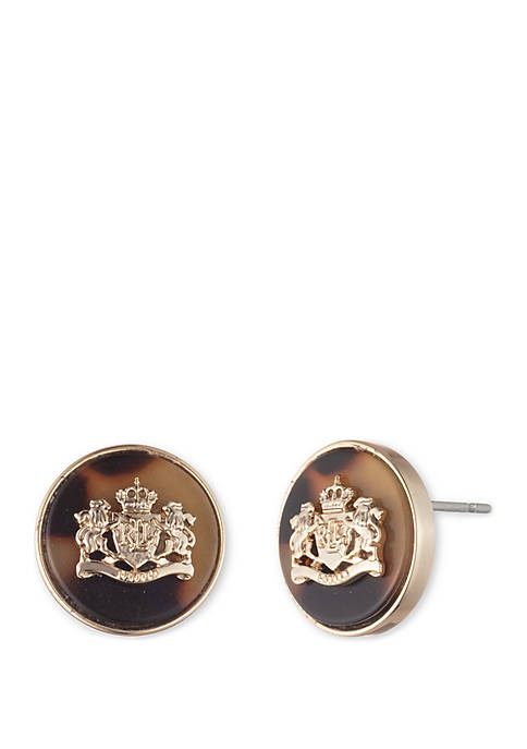 Gold-Tone and Tortoise Stud Crest Post Earrings