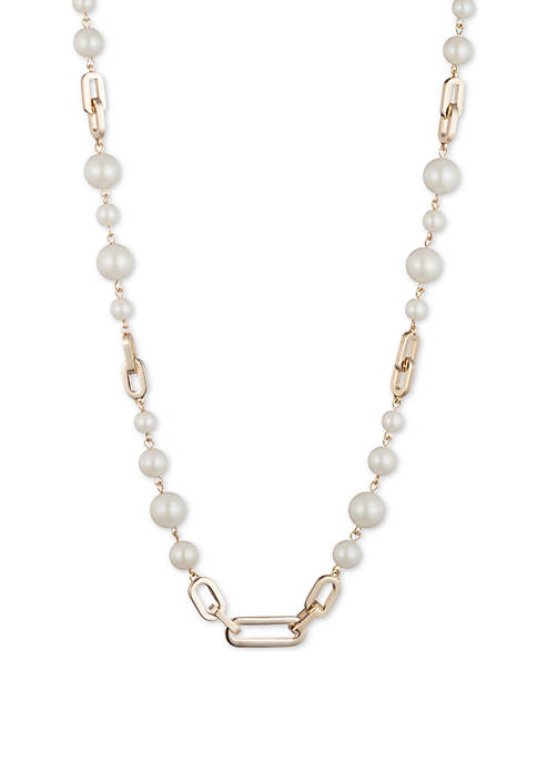 Gold-Tone Pearl Link Collar Necklace
